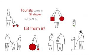 tourists come in all shapes - illustratie